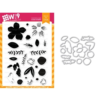 Wplus9 SOUTHERN SUMMER FLORALS 2 Clear Stamp And Die Combo WPLUS413