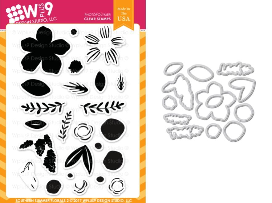 Wplus9 SOUTHERN SUMMER FLORALS 2 Clear Stamp And Die Combo WPLUS413 zoom image