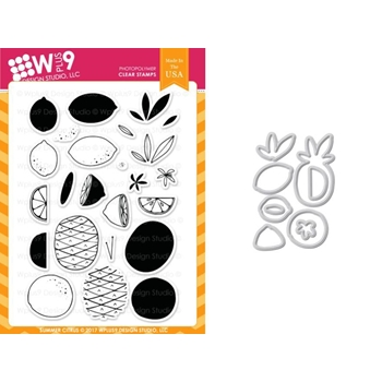 Wplus9 SUMMER CITRUS Clear Stamp And Die Combo WPLUS416