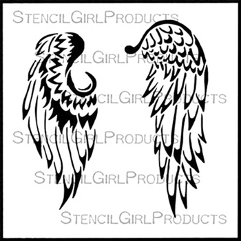 StencilGirl BABY ANGEL WINGS 6x6 Stencil S475