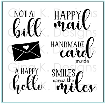 RESERVE Gina K Designs HAPPY MAIL Clear Stamps 9123