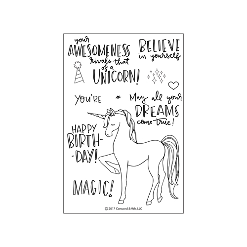 Concord & 9th UNICORN AWESOMENESS Clear Stamp Set 10230 Preview Image