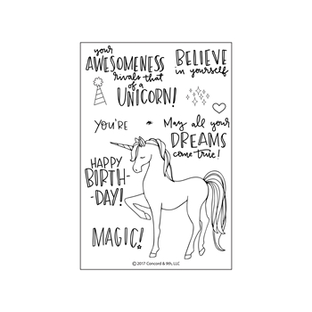 Concord & 9th UNICORN AWESOMENESS Clear Stamp Set 10230