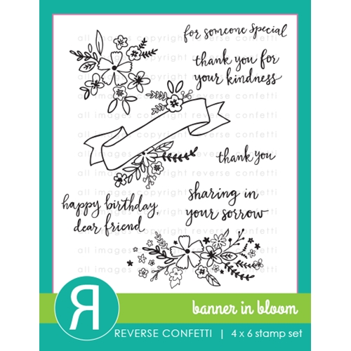 Reverse Confetti BANNER IN BLOOM Clear Stamp Set Preview Image