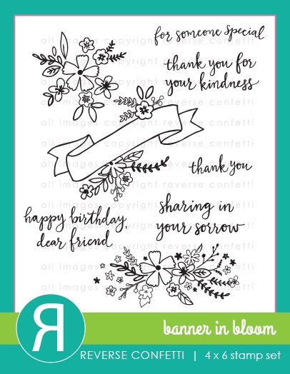 Reverse Confetti BANNER IN BLOOM Clear Stamp Set zoom image