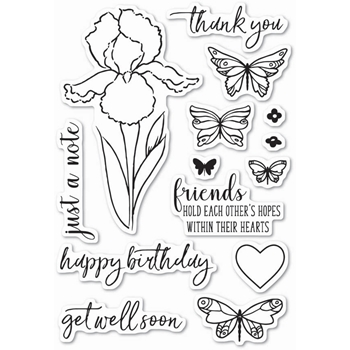 Memory Box Clear Stamps SENTIMENTAL IRIS Open Studio CL5202