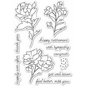 Memory Box Clear Stamps PEONY STEMS AND BLOSSOMS POPPY STAMPS CL447