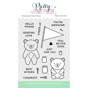 Pretty Pink Posh BEAR HUGS Clear Stamp Set