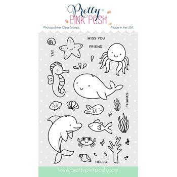 Pretty Pink Posh SEA FRIENDS Clear Stamp Set