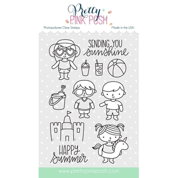 Pretty Pink Posh SUMMER FRIENDS Clear Stamp Set
