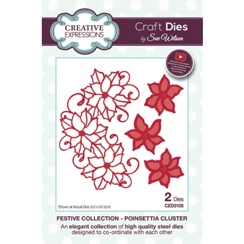 Creative Expressions POINSETTIA CLUSTER Sue Wilson Festive Collection Die Set CED3105