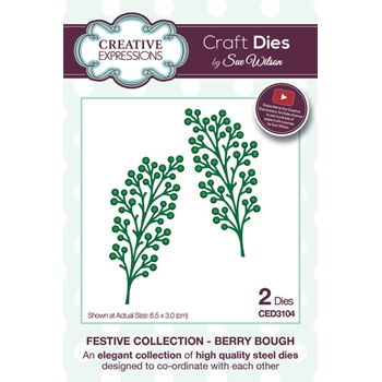 Creative Expressions BERRY BOUGH Sue Wilson Festive Collection Die Set CED3104