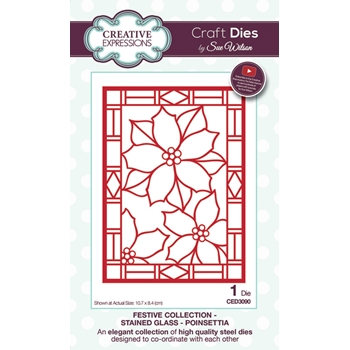 Creative Expressions POINSETTIA Stained Glass Sue Wilson Festive Collection CED3090