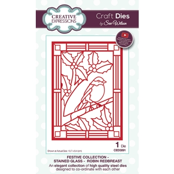 Creative Expressions ROBIN REDBREAST Stained Glass Sue Wilson Festive Collection CED3091