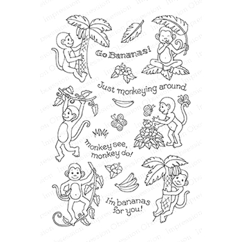Pink Ink For Impression Obsession Clear Stamp MONKEY BUSINESS CL761