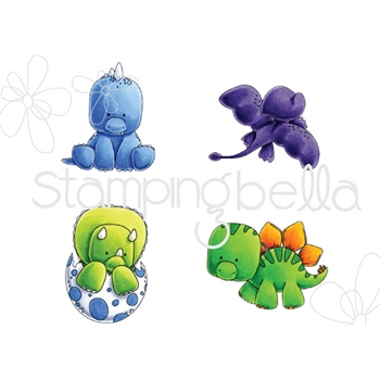 Stamping Bella Cling Stamp SET OF DINOSAURS Rubber UM EB532