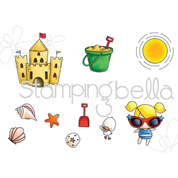 Stamping Bella Cling Stamp THE LITTLES SANDCASTLE SET Rubber UM EB515