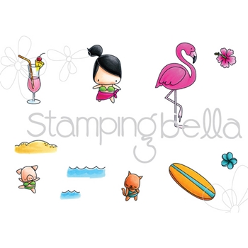Stamping Bella Cling Stamp THE LITTLES SURFER SET Rubber UM EB512