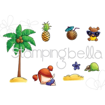 Stamping Bella Cling Stamp THE LITTLES PALM TREE SET Rubber UM EB509