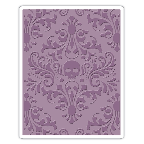 Tim Holtz Sizzix SKULL DAMASK Texture Fades Embossing Folder 662390 Preview Image