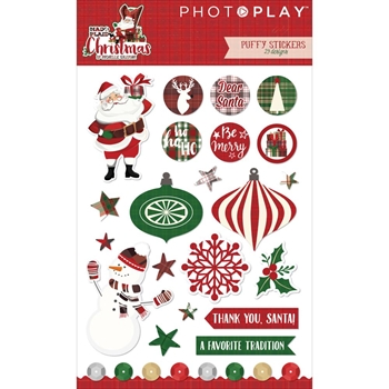 PhotoPlay MAD 4 PLAID CHRISTMAS Puffy Stickers MPC2891
