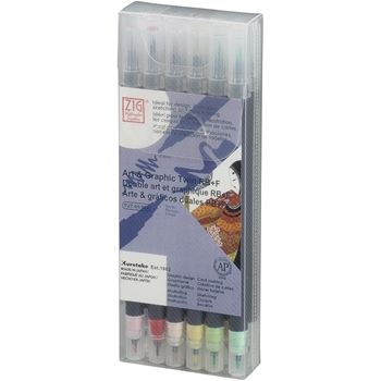 Zig Watercolor System Art and Graphic Twin RB+F PALE COLORS 12VPA
