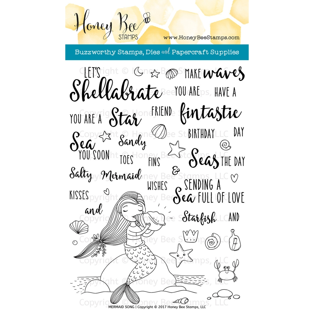 Honey Bee MERMAID SONG Clear Stamp Set HBST72 zoom image