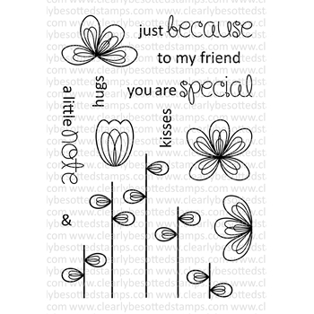 Clearly Besotted SCRIBBLED FLOWERS Clear Stamp Set