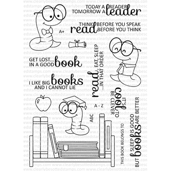 Clearly Besotted BOOKWORM Clear Stamp Set