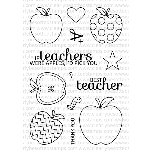 Clearly Besotted AN APPLE A DAY Clear Stamp Set Preview Image