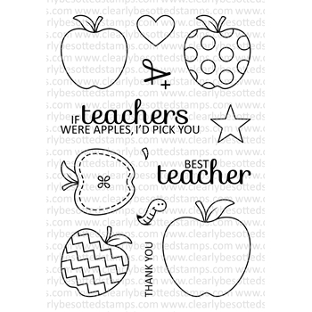 Clearly Besotted AN APPLE A DAY Clear Stamp Set