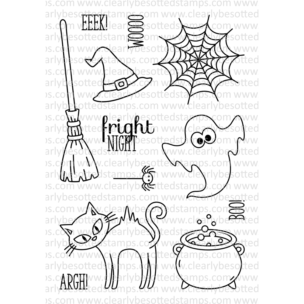 Clearly Besotted FRIGHT NIGHT Clear Stamp Set zoom image