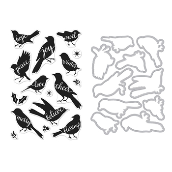 Hero Arts BIRD WORDS Clear Stamp and Die Combo SB174