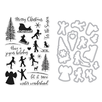 Hero Arts WINTER SILHOUETTES Clear Stamp and Die Combo SB176