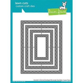 RESERVE Lawn Fawn OUTSIDE IN STITCHED SCALLOPED RECTANGLE STACKABLES Lawn Cuts LF1505