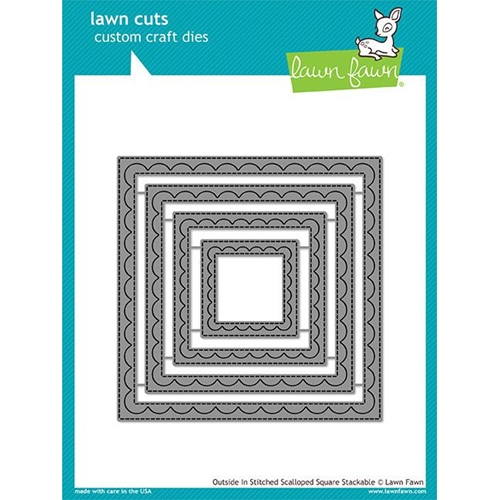 Lawn Fawn OUTSIDE IN STITCHED SCALLOPED SQUARE STACKABLES Lawn Cuts LF1506 Preview Image