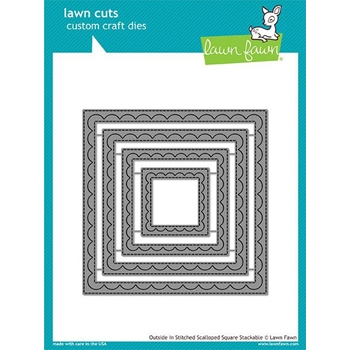 RESERVE Lawn Fawn OUTSIDE IN STITCHED SCALLOPED SQUARE STACKABLES Lawn Cuts LF1506