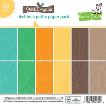 Lawn Fawn KNOCK ON WOOD 6x6 Inch Petite Paper Pack LF1513
