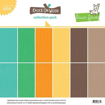 RESERVE Lawn Fawn KNOCK ON WOOD 12x12 Inch Collection Pack LF1514