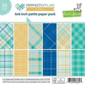 RESERVE Lawn Fawn PERFECTLY PLAID CHILL 6x6 Inch Petite Paper Pack LF1521