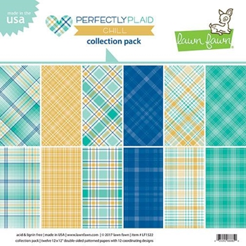 RESERVE Lawn Fawn PERFECTLY PLAID CHILL 12x12 Inch Collection Pack LF1522
