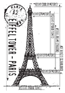 Tim Holtz Rubber Stamp EIFFEL SKETCH Tower Stampers Anonymous P4-1103
