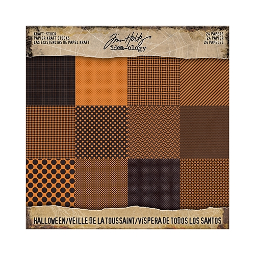Tim Holtz Idea-ology 8 x 8 Paper Stash KRAFT HALLOWEEN Paperie TH93609 Preview Image