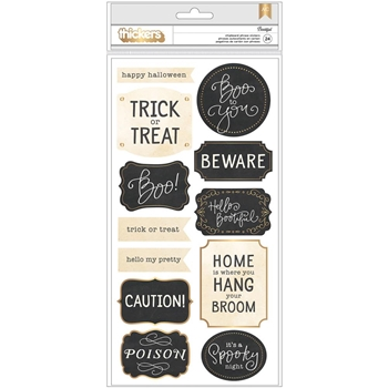 Pebbles Inc. MIDNIGHT HAUNTING THICKERS Foil Chipboard Letter Stickers 733659