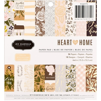 Pebbles Inc. Jen Hadfield HEART OF HOME 6x6 Inch Paper Pad 733771