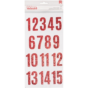 Pebbles Inc. RED GLITTERED CHIPBOARD NUMBERS THICKERS Merry Merry Stickers 733565