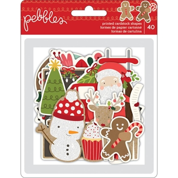 Pebbles Inc. MERRY MERRY EPHEMERA Printed Cardstock Shapes 733560