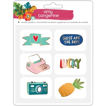 American Crafts Amy Tangerine ENAMEL STICKERS Hustle and Heart 341891
