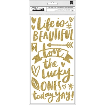 American Crafts Amy Tangerine PHRASE Gold Glitter and White Thickers Hustle and Heart 341887
