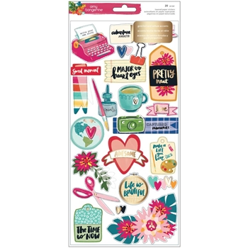 American Crafts Amy Tangerine LAYERED PAPER STICKERS Hustle and Heart 341885